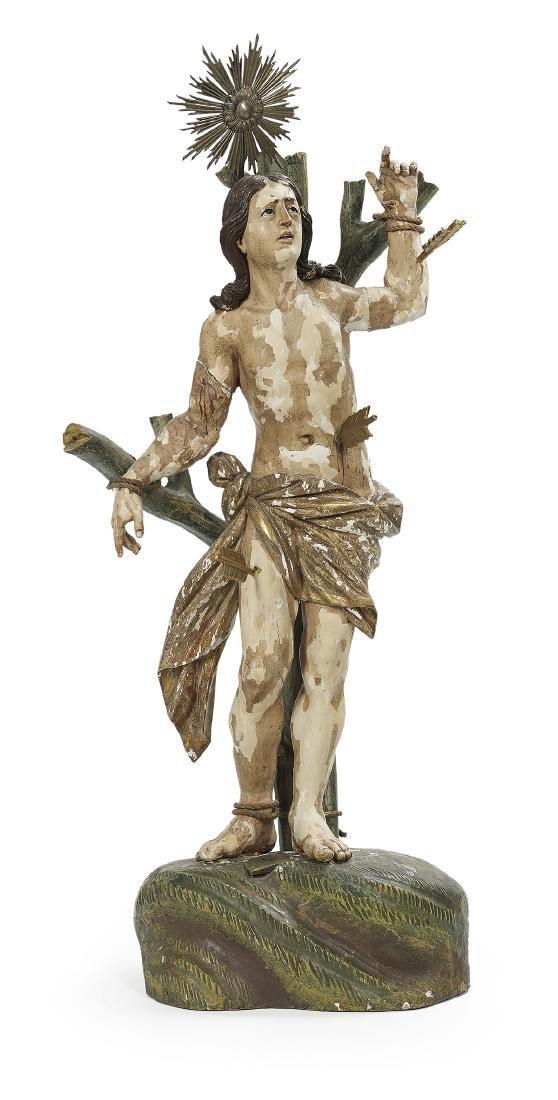 Italian Wooden Altar Figure of Saint Sebastian