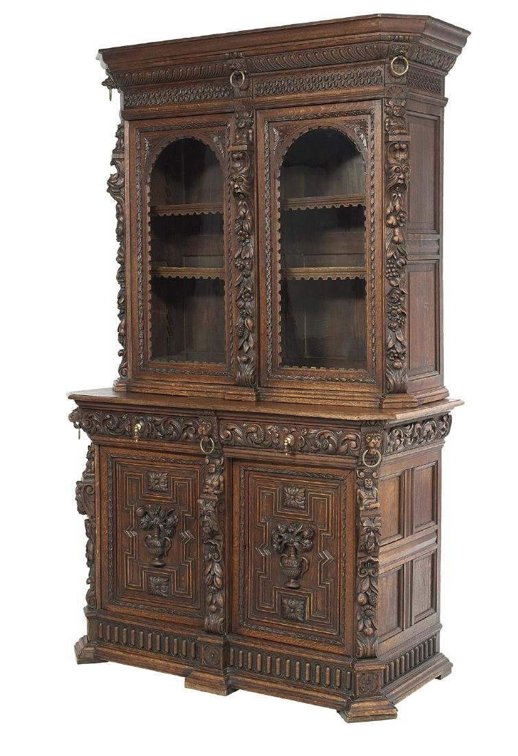 Continental Richly Carved Oak Buffet a Deux Corps - 2