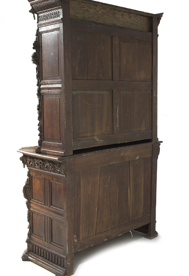 Continental Richly Carved Oak Buffet a Deux Corps - 3