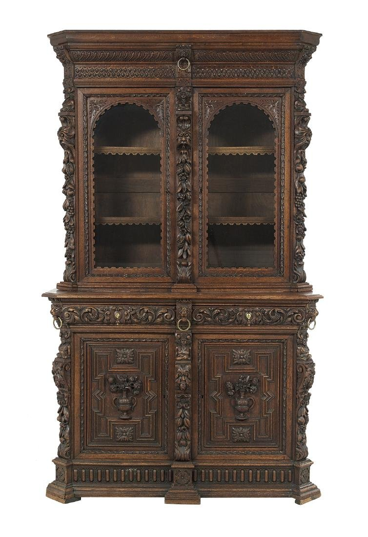 Continental Richly Carved Oak Buffet a Deux Corps