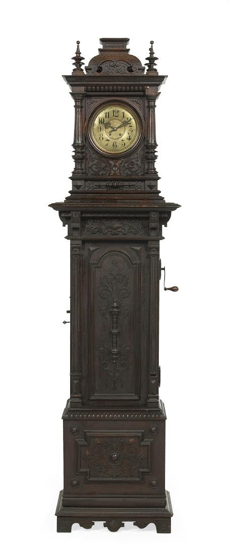 Baroque-Style Oak Symphonion Tall Case Clock