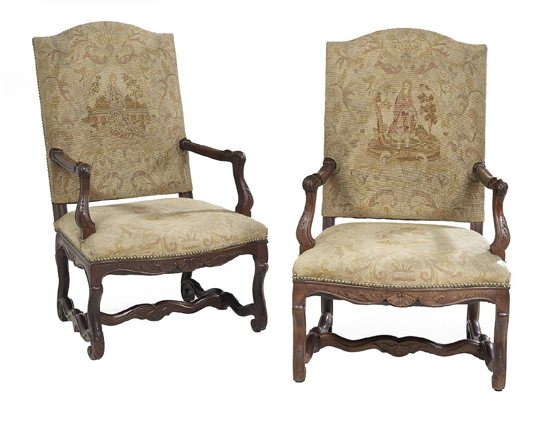 Pair of Flemish Fruitwood Fauteuils a la Reine