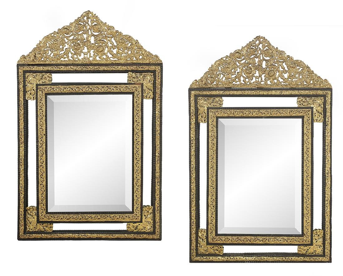 Pair of Ebonized Wood and Brass Cushion Mirrors