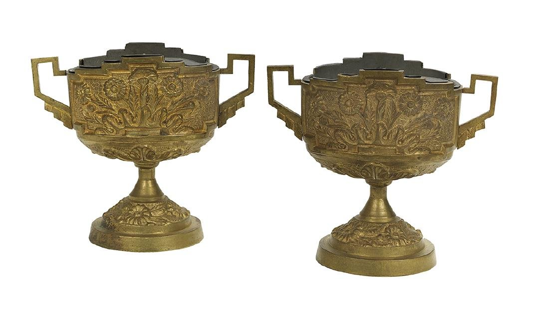 Pair of French Gilt-Bronze Bough Pots