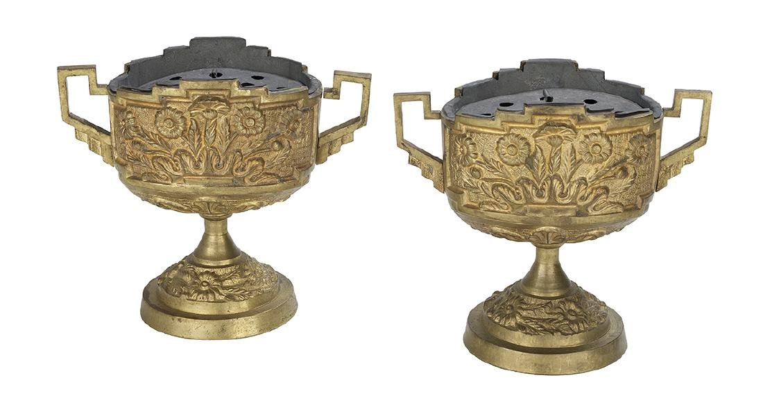 Pair of French Gilt-Bronze Bough Pots - 2