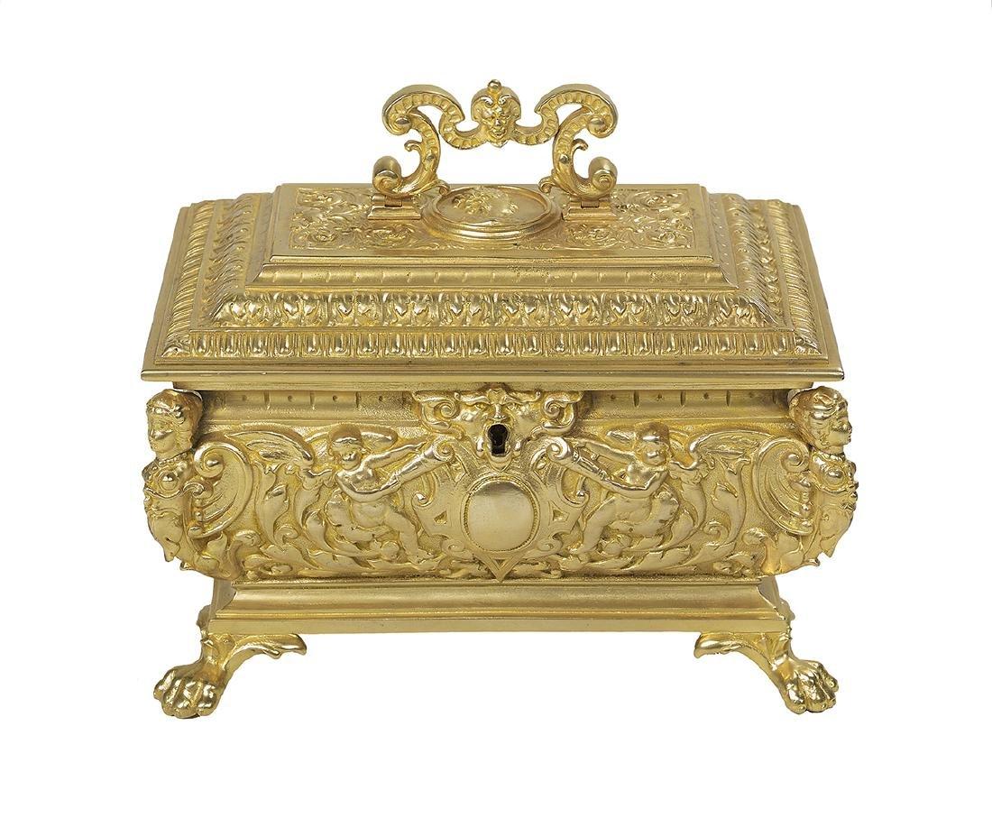 Renaissance-Style Gilt-Bronze Jewelry Casket