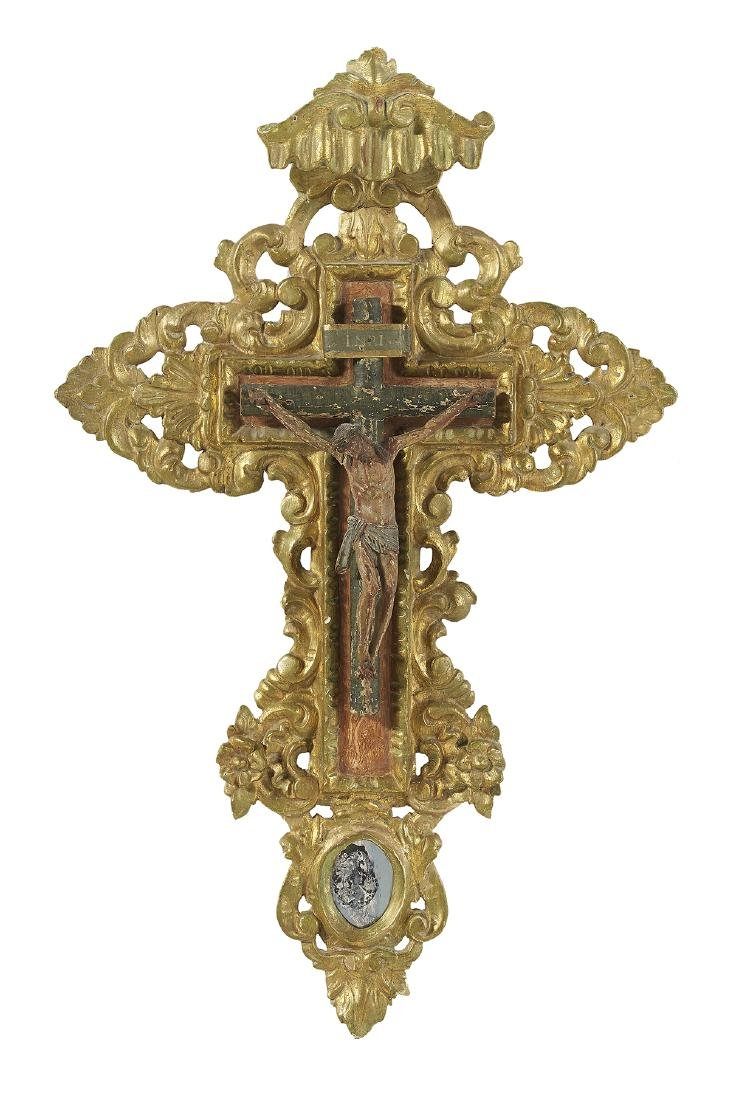 Carved, Gilt and Polychromed Wooden Crucifix