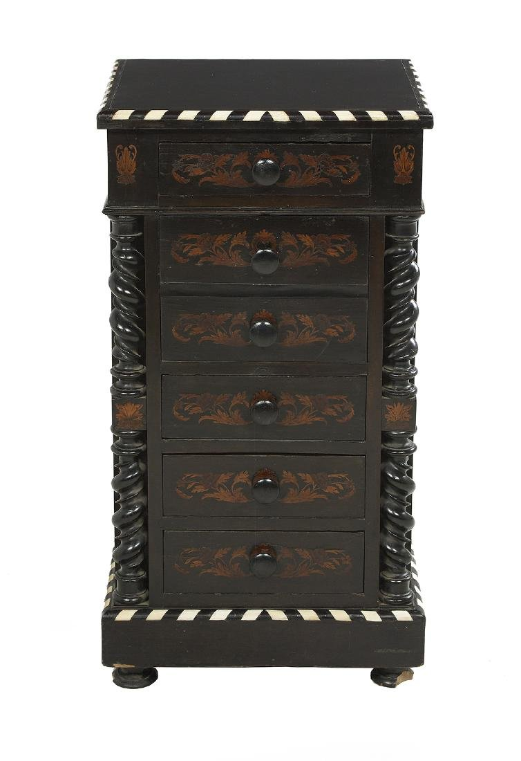 Continental Ebonized and Inlaid Side Cabinet