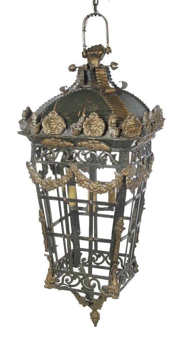 Large Wrought and Cast Iron Hanging Lantern