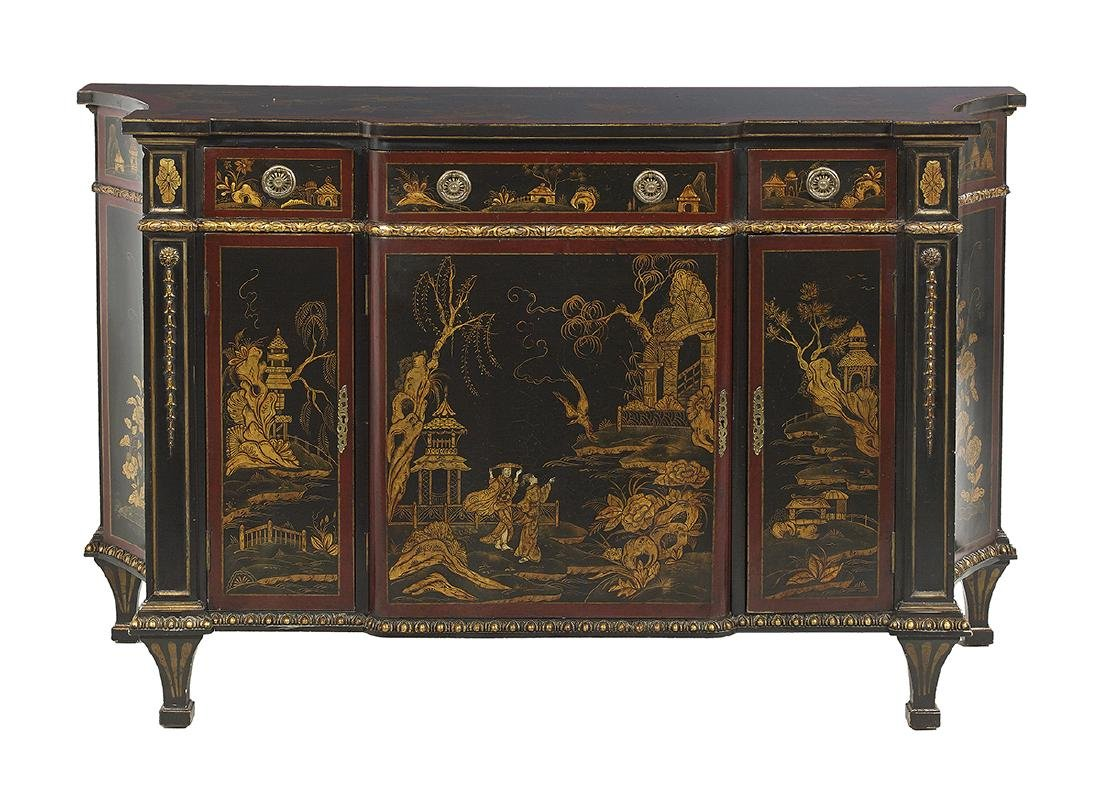 Continental Polychrome and Ebonized Cabinet