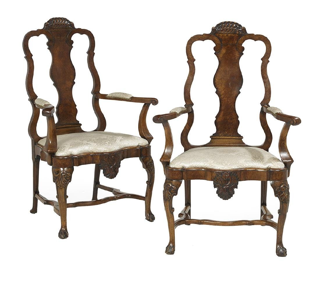 Pair of Flemish-Style Fruitwood Armchairs
