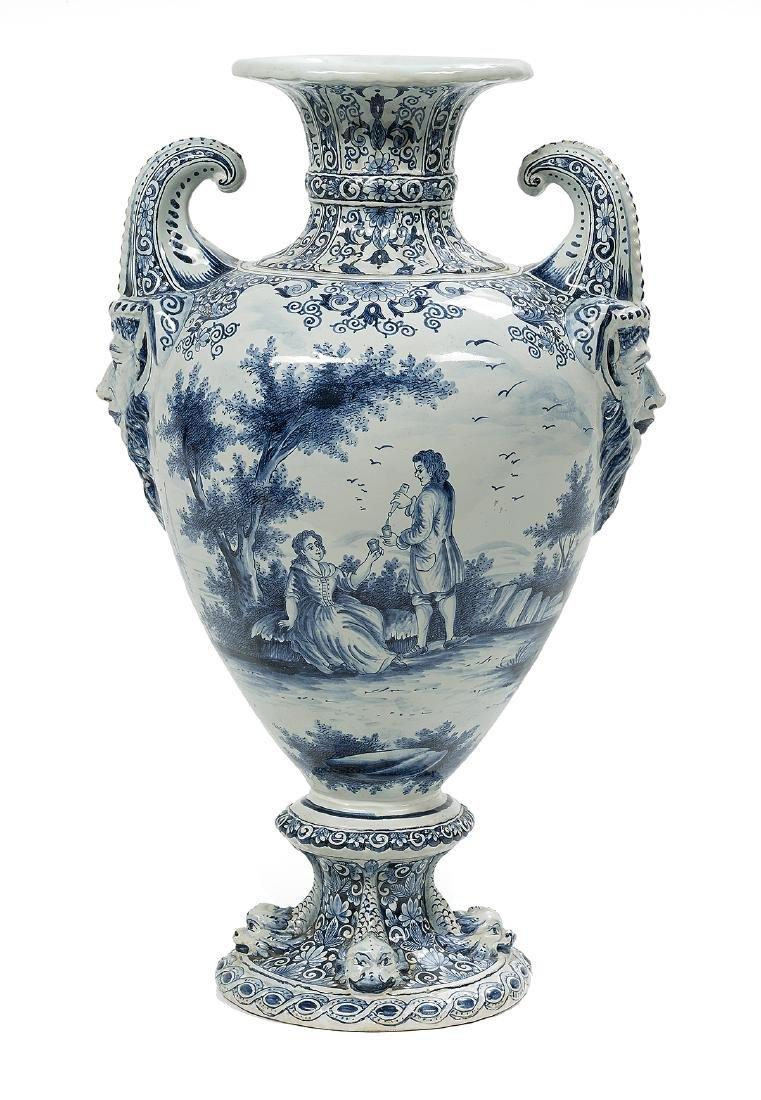 Impressive Dutch Tin-Glazed Delft Urn
