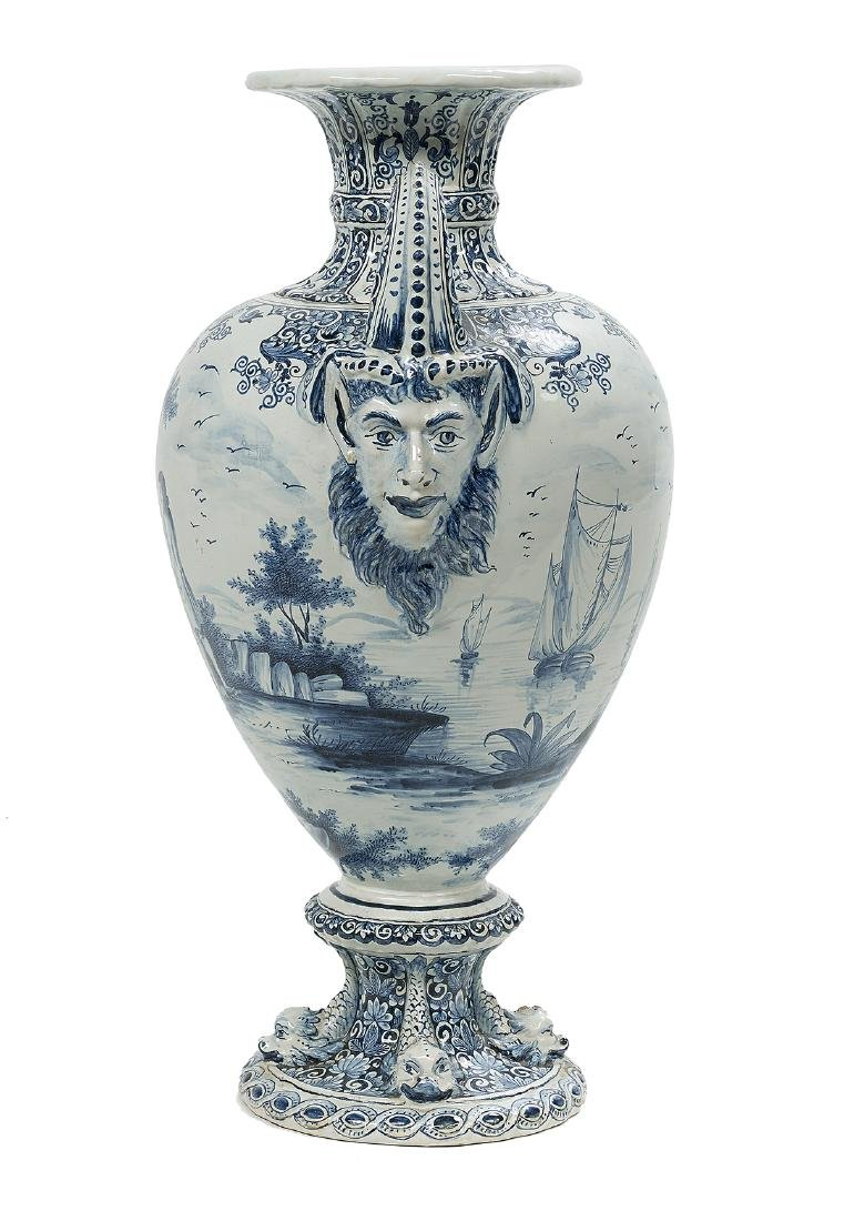 Impressive Dutch Tin-Glazed Delft Urn - 2