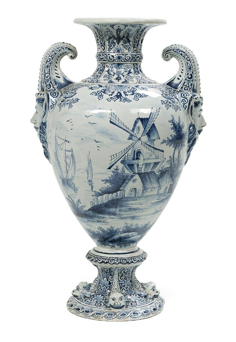 Impressive Dutch Tin-Glazed Delft Urn - 3