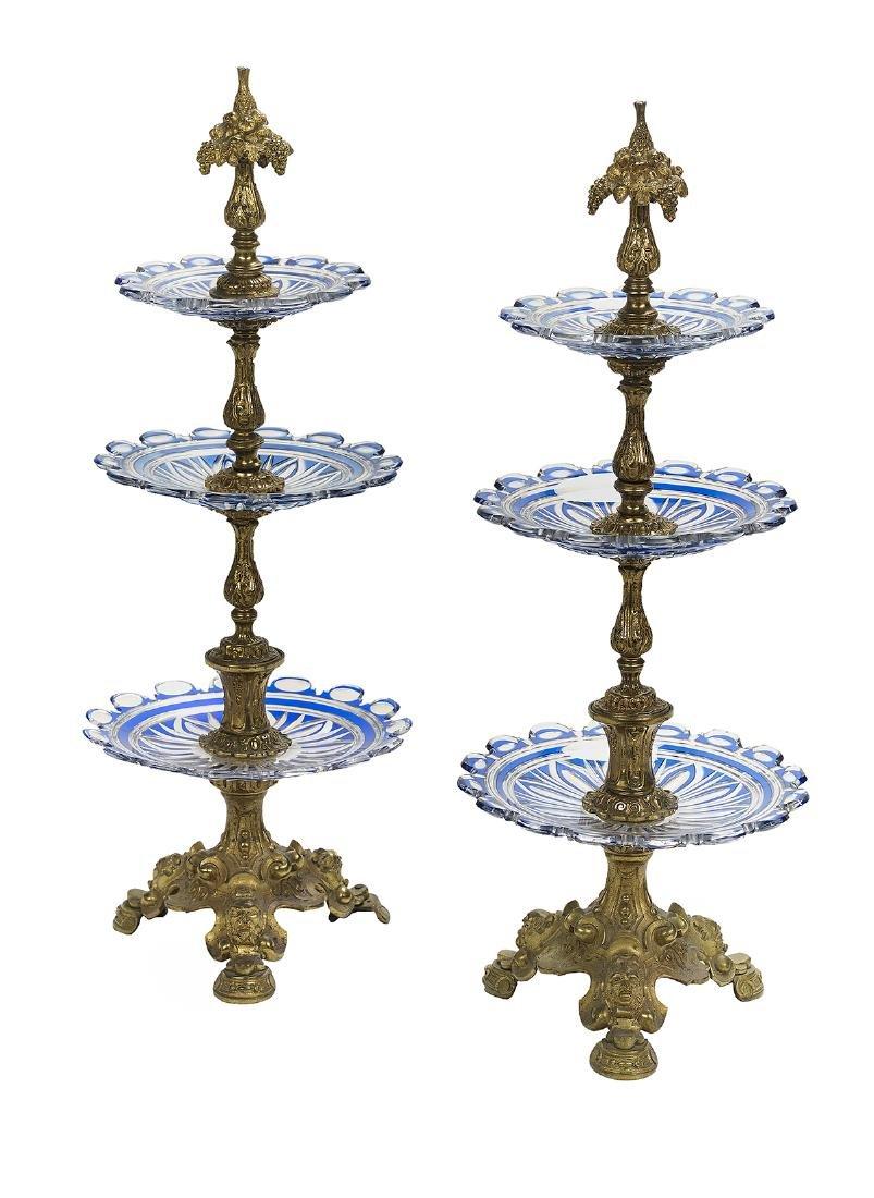 Pair of Gilt-Bronze and Glass Dessert Stands