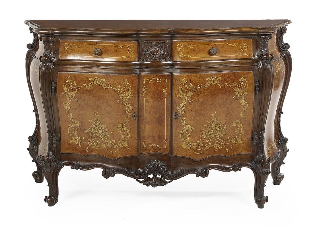 Continental Fruitwood and Mahogany Bombe Cabinet