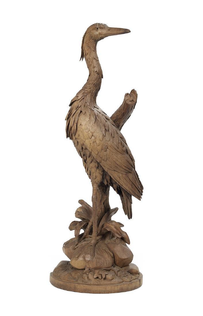 Black Forest-Style Carved Hardwood Egret