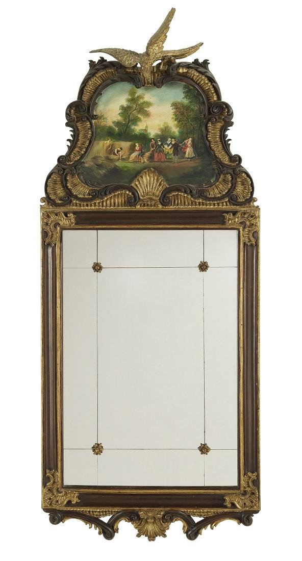 Baroque-Style Painted and Parcel-Gilt Mirror