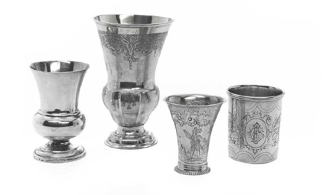 Four 18th/19th-Century Continental Silver Goblets