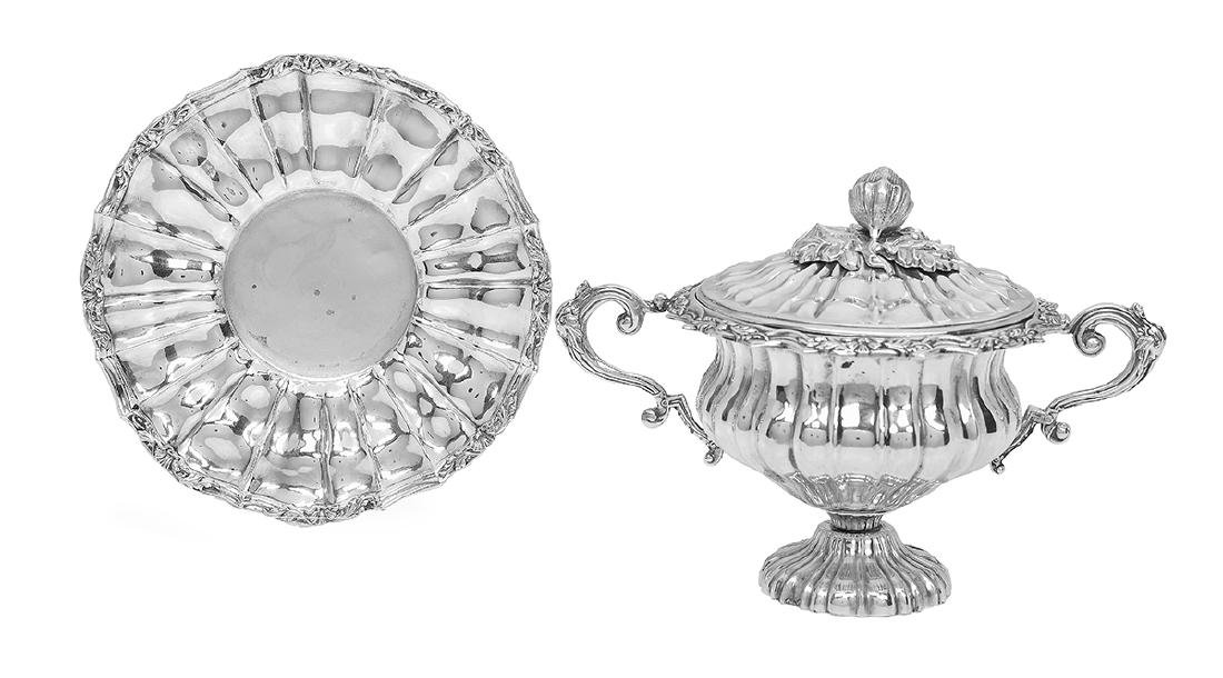 French Silver Covered Sugar Bowl and Underplate