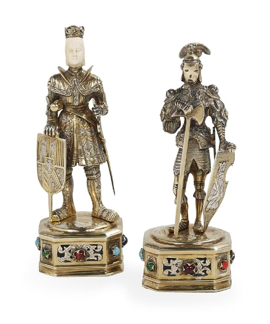 Two German Sterling Silver Gilt Cabinet Figures