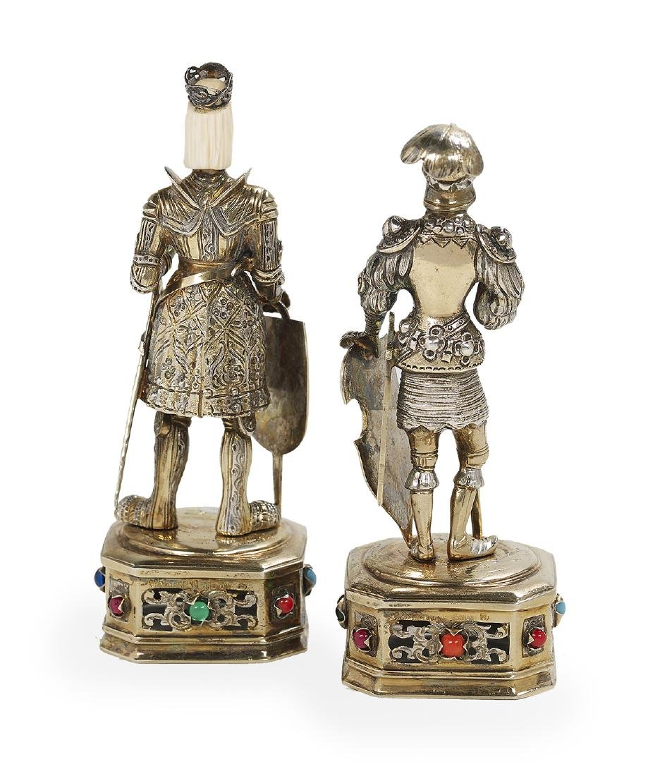 Two German Sterling Silver Gilt Cabinet Figures - 2