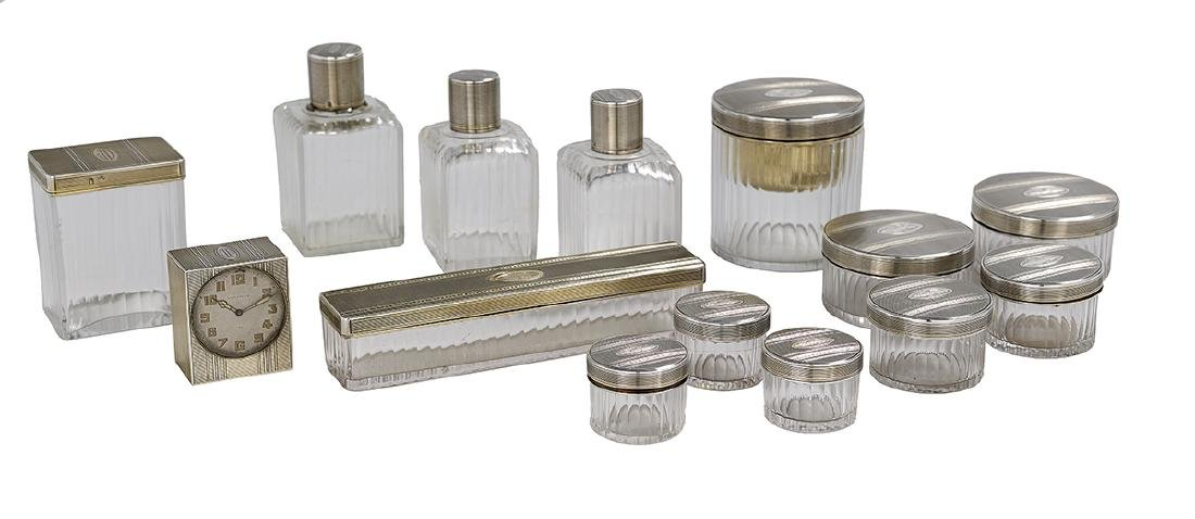 French Fourteen-Piece Silver and Glass Vanity Set
