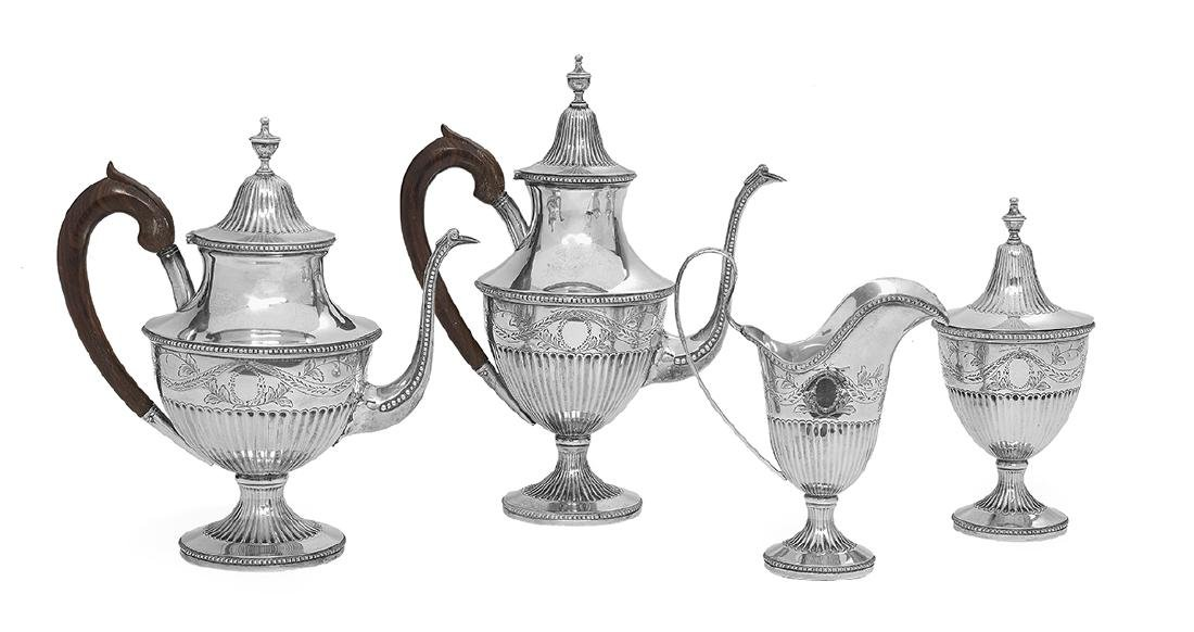 Portuguese Four-Piece Silver Coffee and Tea Set