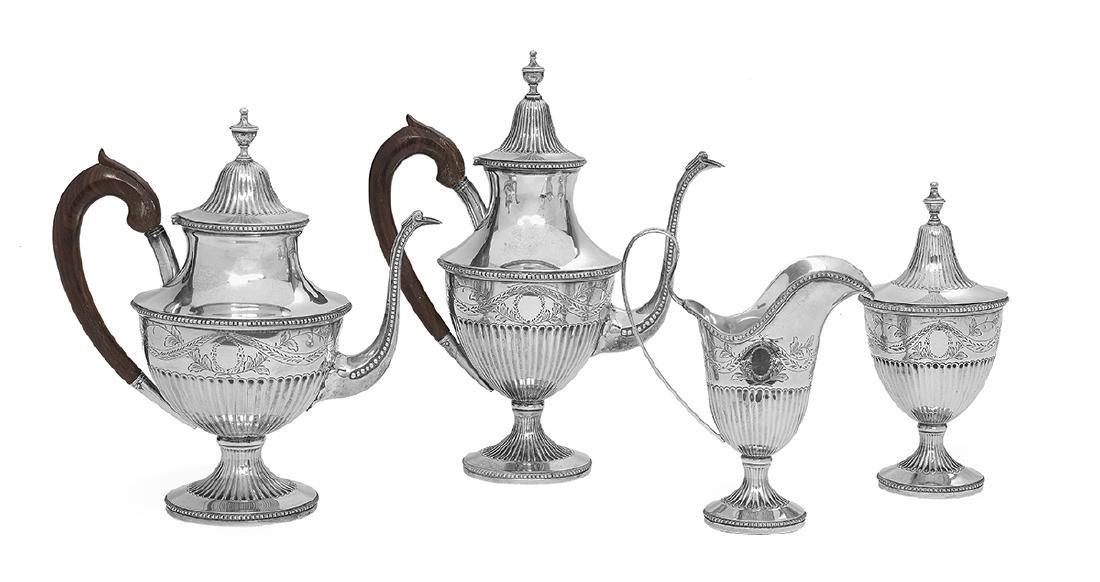 Portuguese Four-Piece Silver Coffee and Tea Set