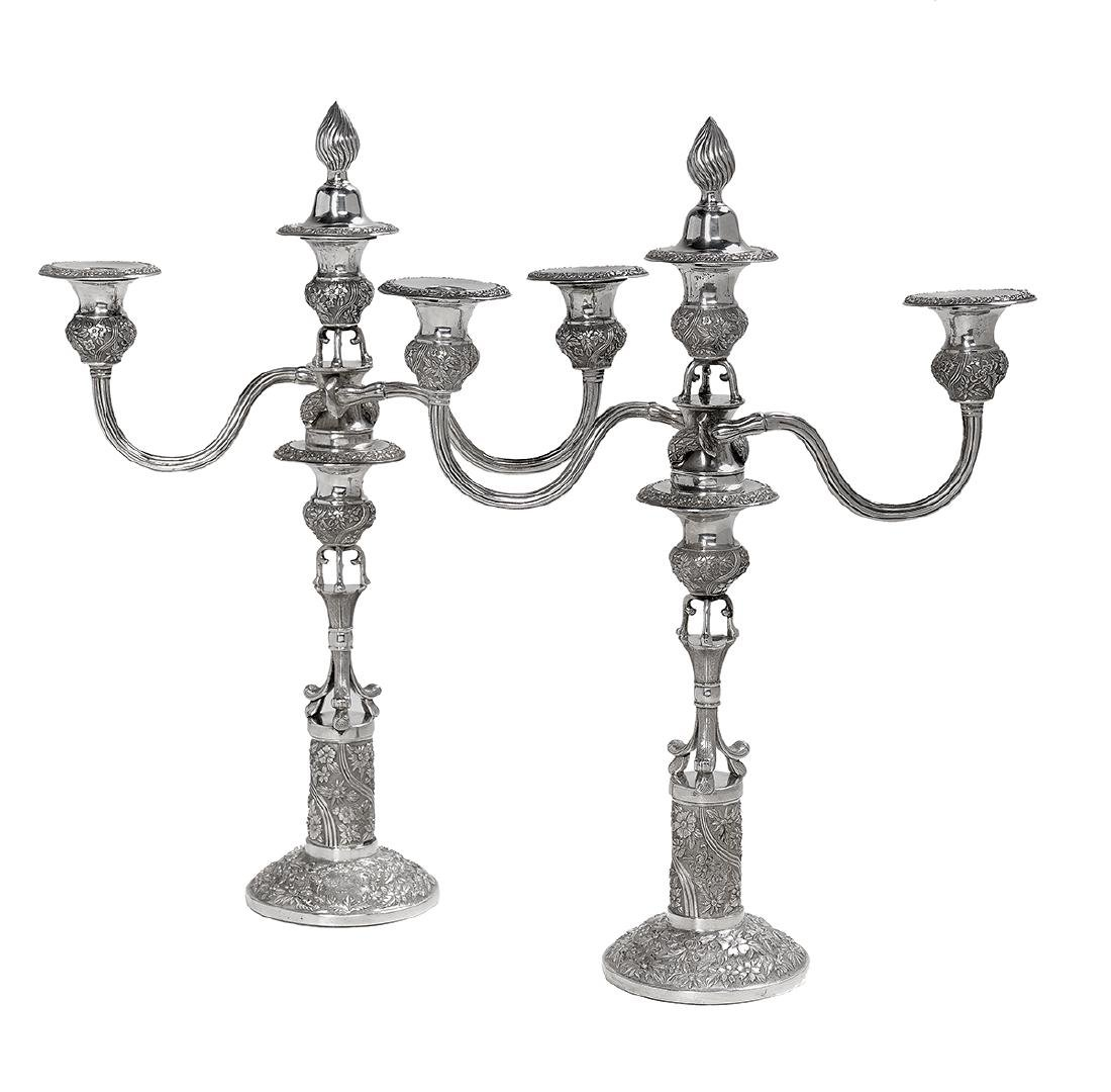 Pair of Asian Silver Convertible Candelabra