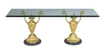 GiltBronze Marble and Glass Cocktail Table