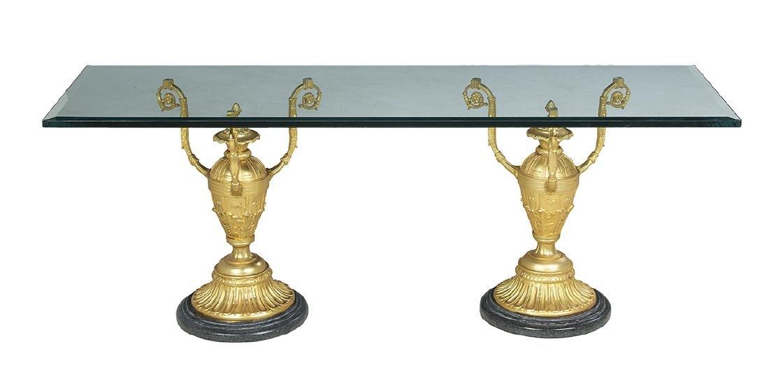 Gilt-Bronze, Marble and Glass Cocktail Table