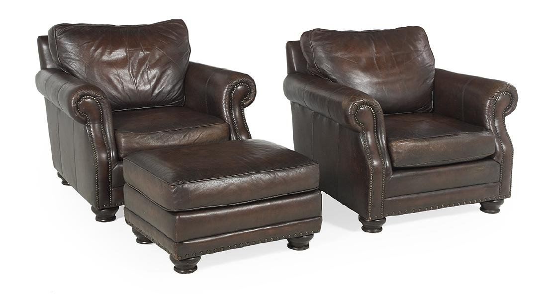 Pair of Leather Pub Chairs and an Ottoman