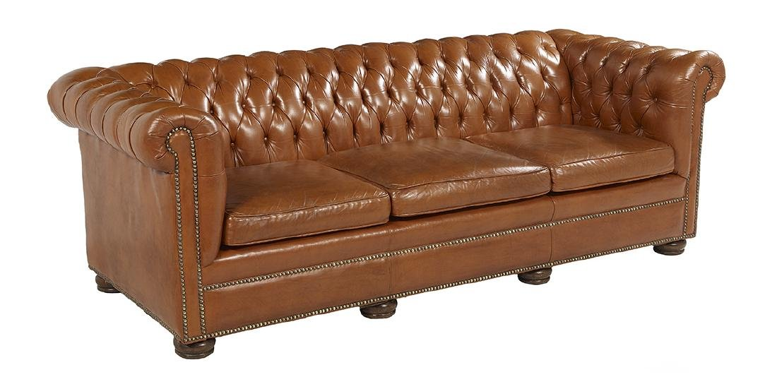 Leather and Mahogany Chesterfield Sofa - 2