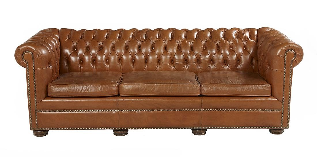 Leather and Mahogany Chesterfield Sofa