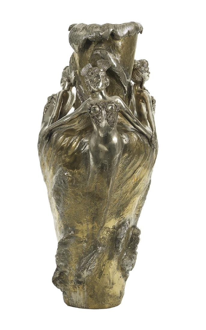 Large Art Nouveau-Style Bronze Vase