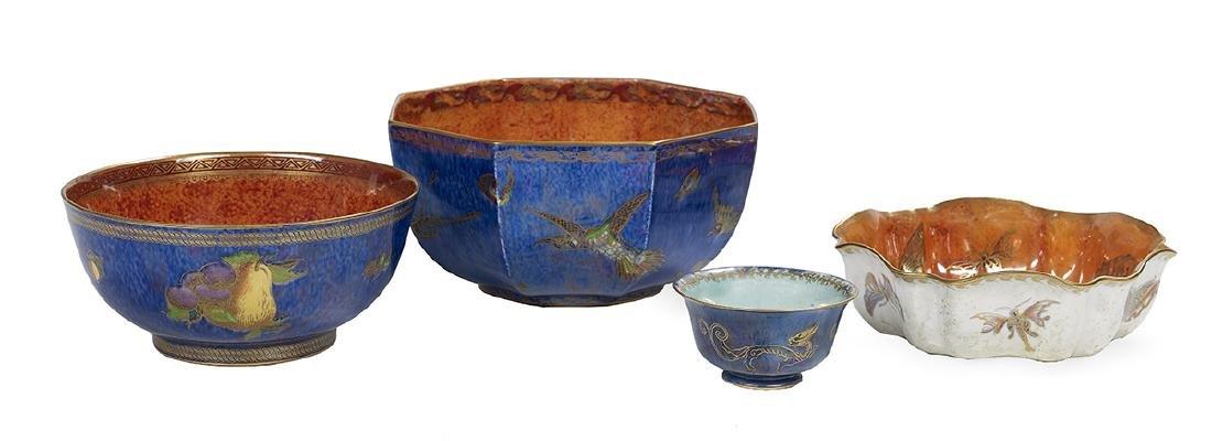 Four English Wedgwood Fairyland Lustre Bowls