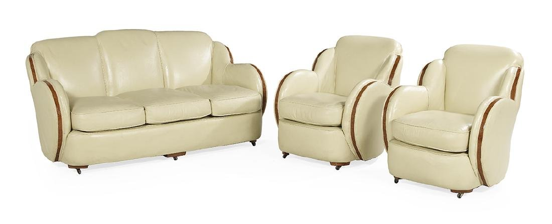 Epstein Bros. Art Deco Elm & Leather Parlor Suite