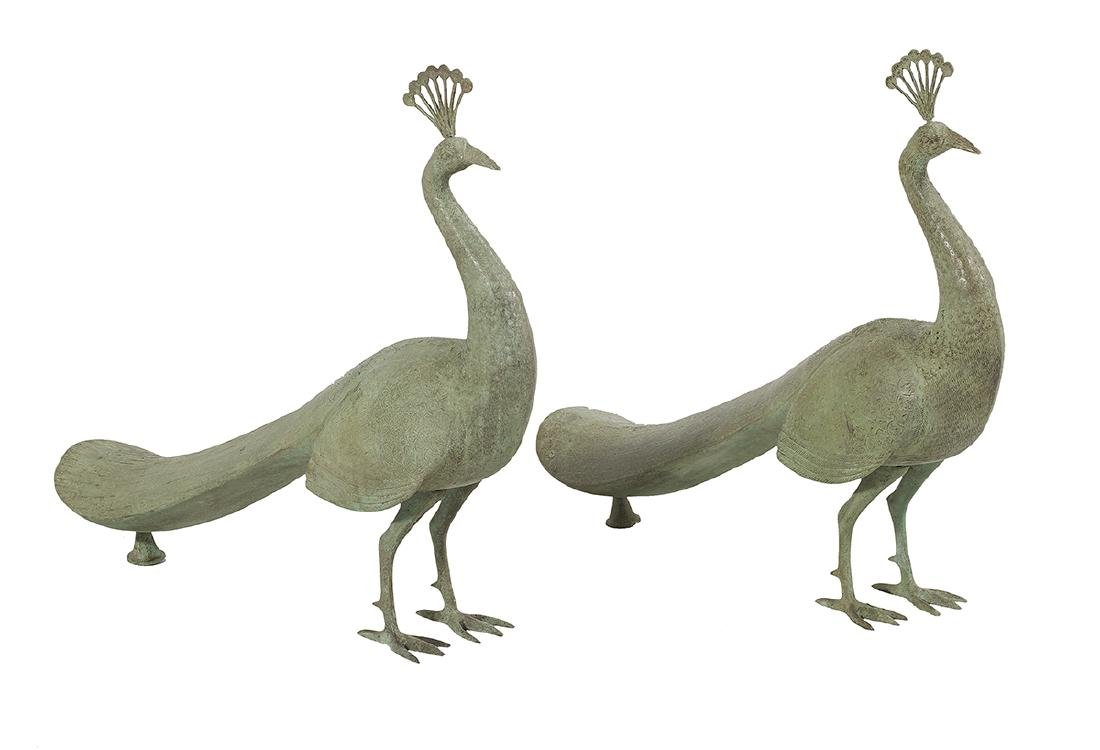 Pair of Patinated Metal Peacock Garden Sculptures