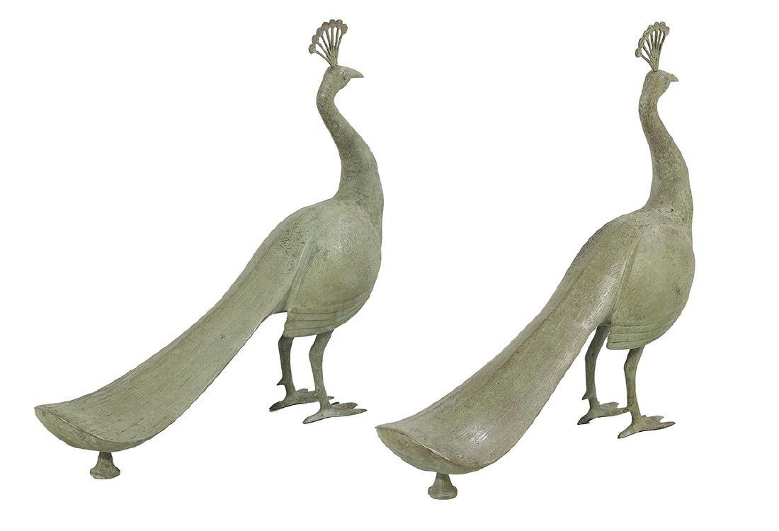 Pair of Patinated Metal Peacock Garden Sculptures - 2