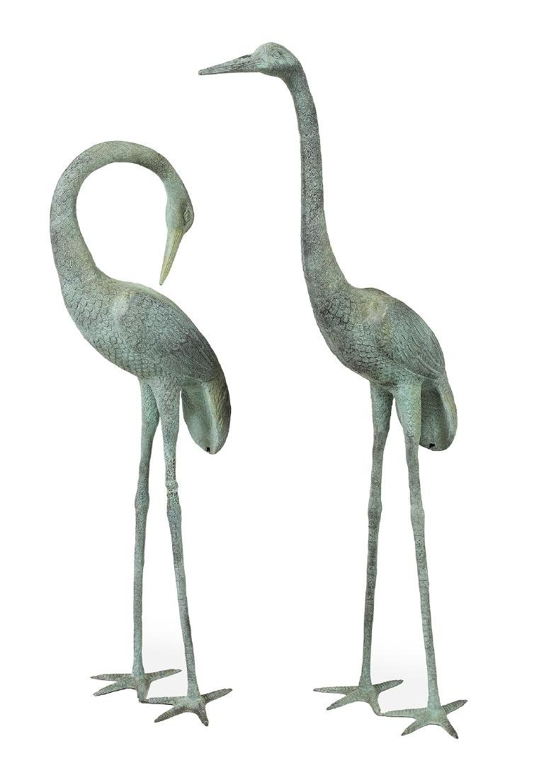 Large Pair of Patinated Metal Garden Cranes