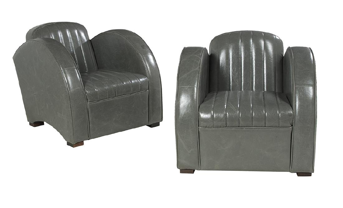 Pair of Aviator-Style Leather Club Chairs