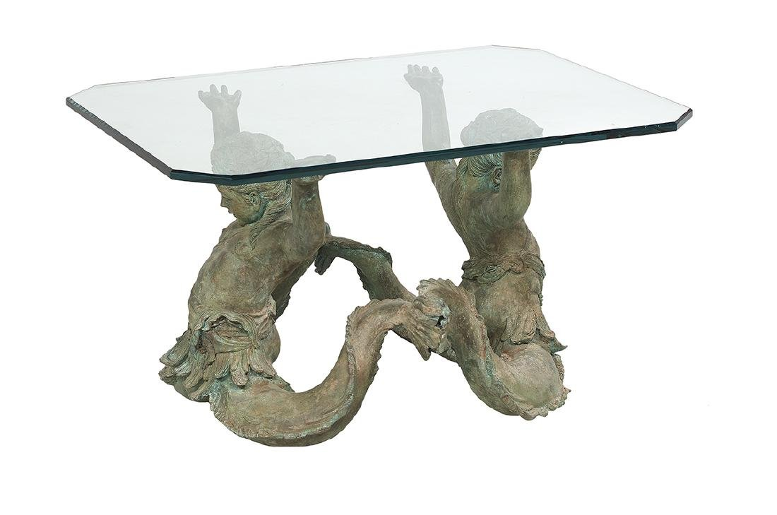 Bronze and Plate-Glass Cocktail Table