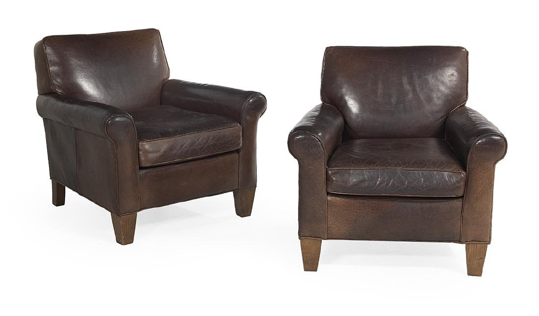 Pair of Chocolate Leather Club Chairs