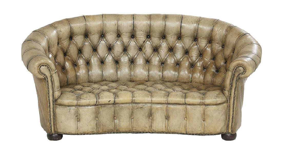 Unusual Kidney-Form Leather Chesterfield Sofa