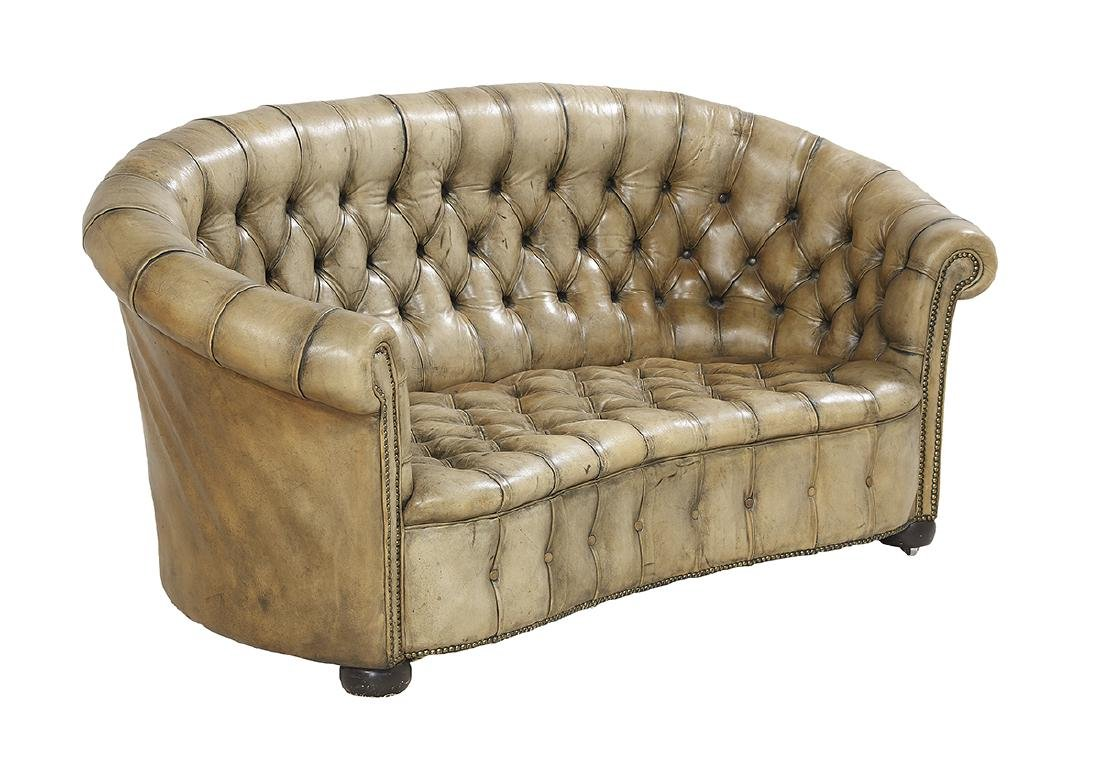 Unusual Kidney-Form Leather Chesterfield Sofa - 2