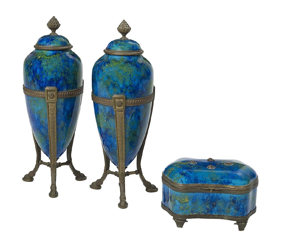 3 Pieces of Paul Millet Lustre-Glazed Pottery