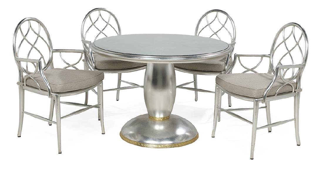 Neoclassical-Style Silver-Leaf Table and Chairs