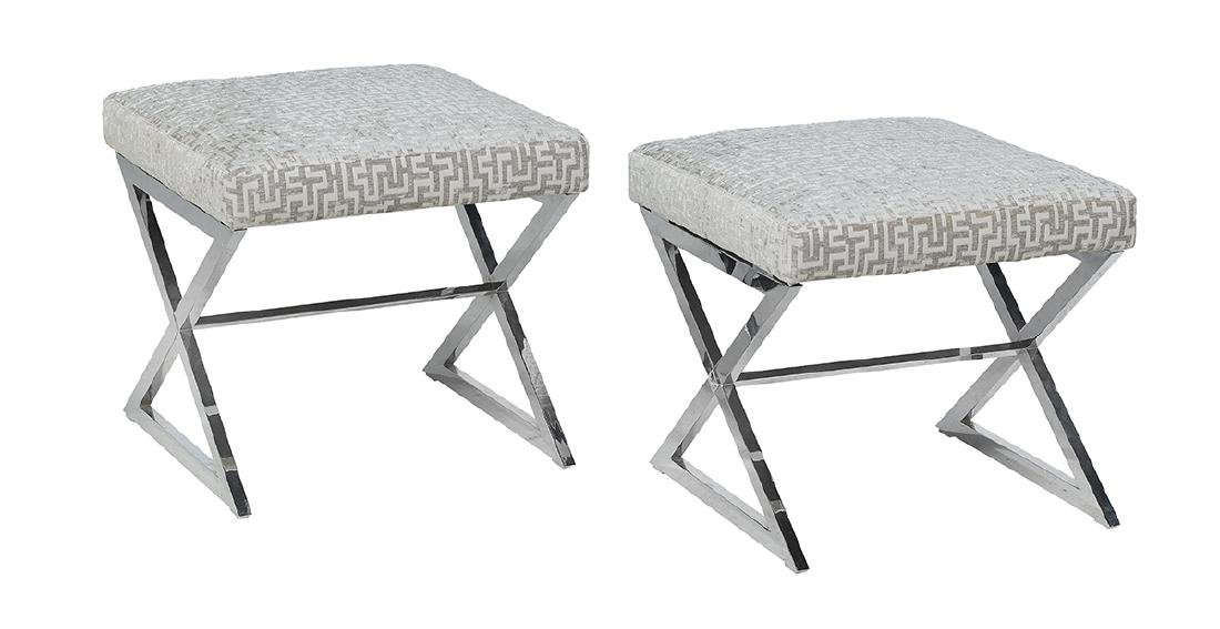 Pair of Chrome and Upholstered Benches