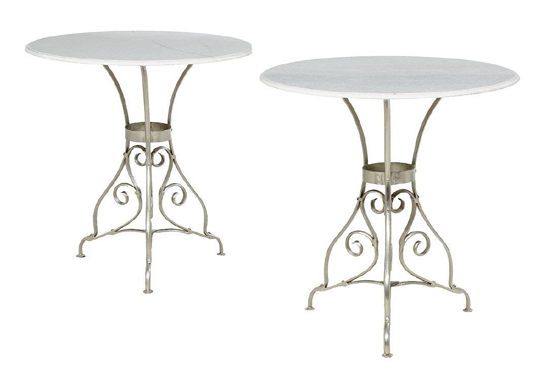 Pair of Granite-Top Occasional Tables